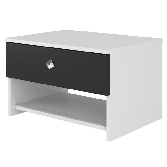 STRASS Chevet contemporain laqué blanc et noir - L 55,2 cm