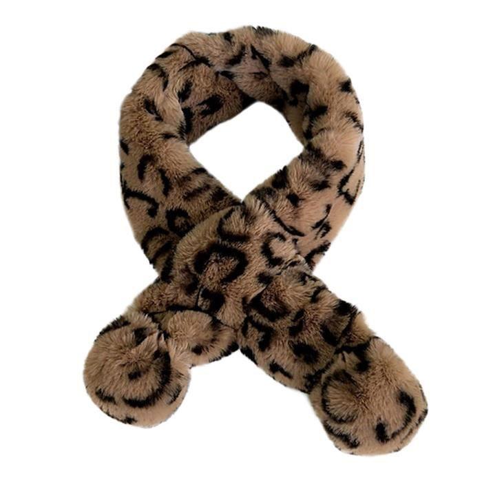 d1cc9182bc2 Écharpe en fausse fourrure à imprimé léopard pour femme d hiver Da-1411
