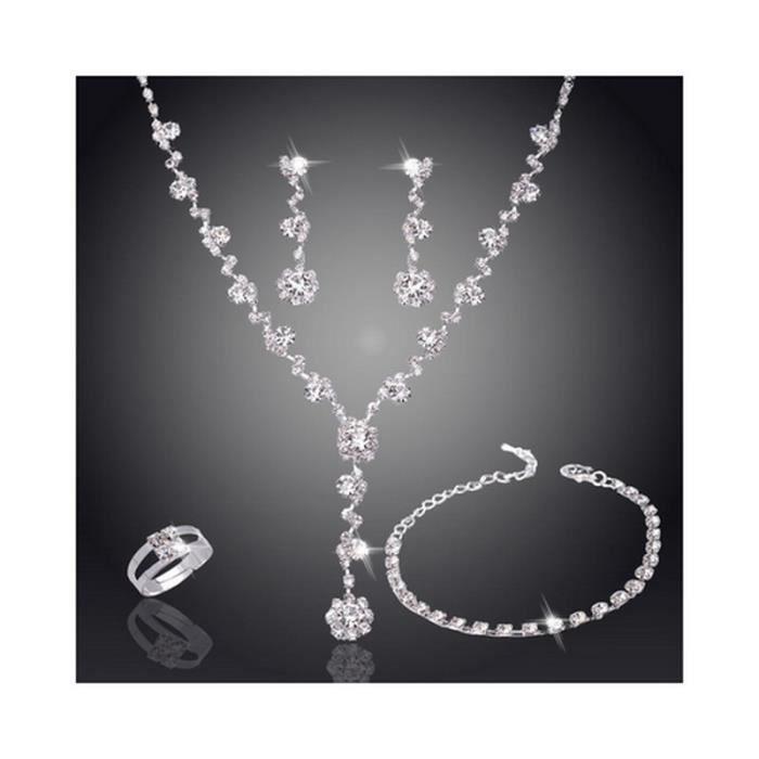 Parure Bijoux Mariage Cristal Africain 4 Pièces Argent 925