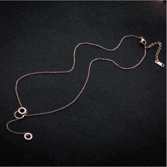 Bracelet Création de titane 18k Rose collier annulaire Mme chiffres arabes pendants