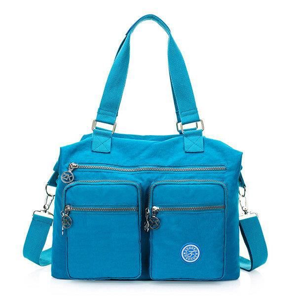 SBBKO3428Femmes Multi Front Pockets Tote Sacs à main Casual Sacs bandoulière Light Waterproof Crossbody Bags Lake Blue