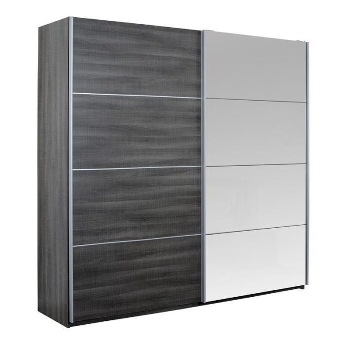 Armoire 2 portes coulissantes Gris foncé - ROMEO - L 230 x l 65 x H ...