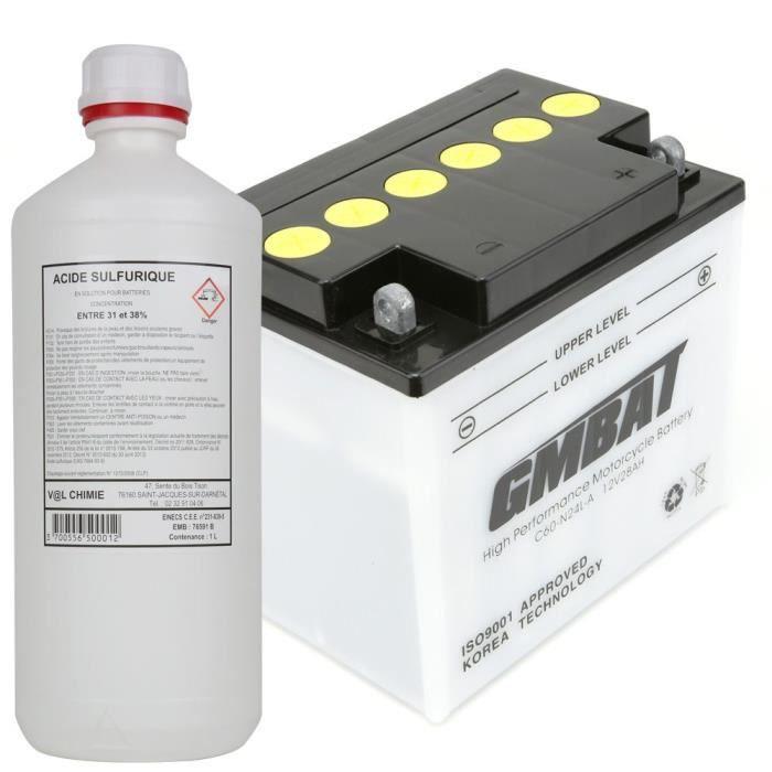 BATTERIE VÉHICULE Batterie tondeuse. C60-N24L-A + acide - Produit ne