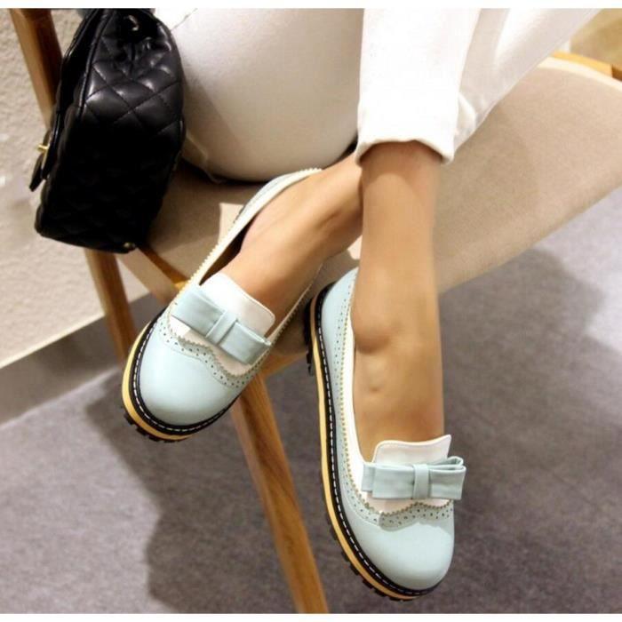 Couleur Chaussures bout rond plat pur de la femme avec bowknot