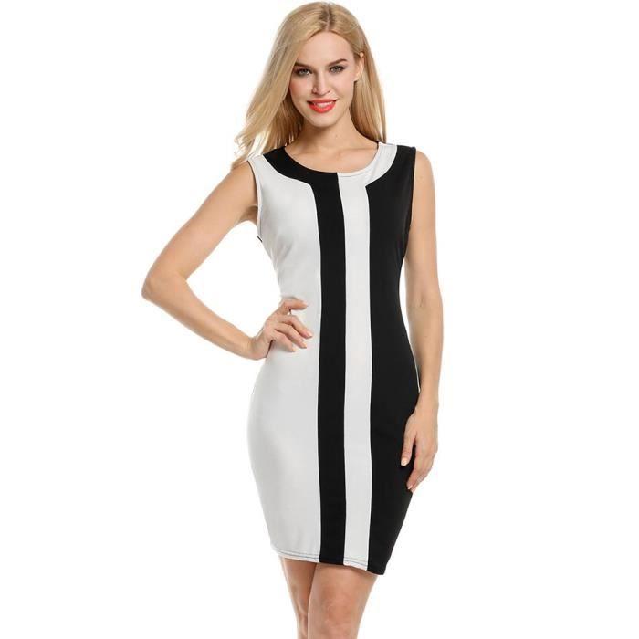 Mode Robe féminine O sans manches encolure Patchwork Sexy robe Slim