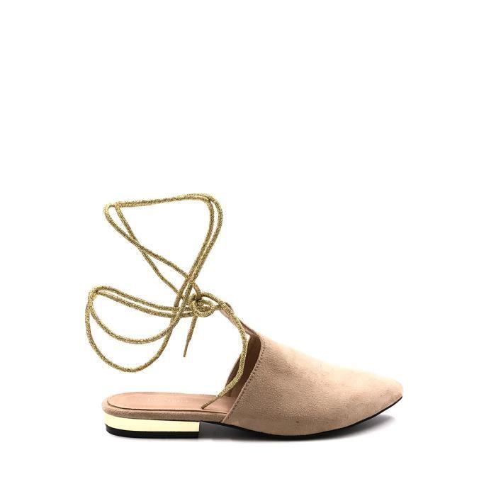 CHIC NANA . Chaussure Femme Ballerine plate à lacet dorée, bout pointue, talon ouvert