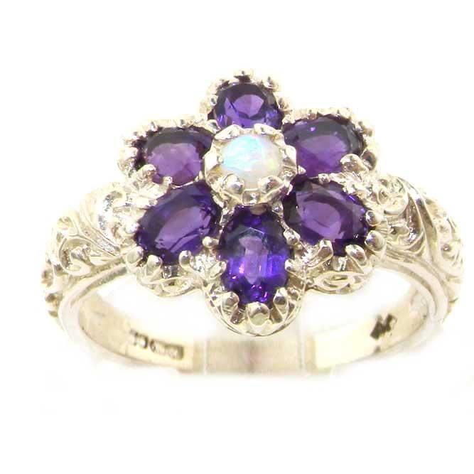 Bague pour Femme en Or blanc 9 carats 375-1000 sertie d Amethyste Opale- Tailles 50 à 64