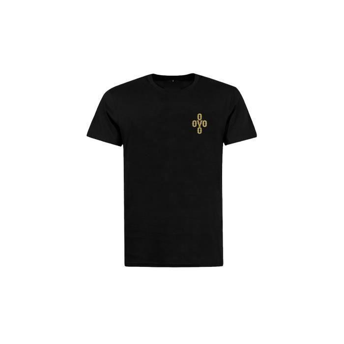 c8213bc3147840 OVO - T-shirt Col Rond small POM POM Gold Logo LEFT SIDE Noir Noir ...