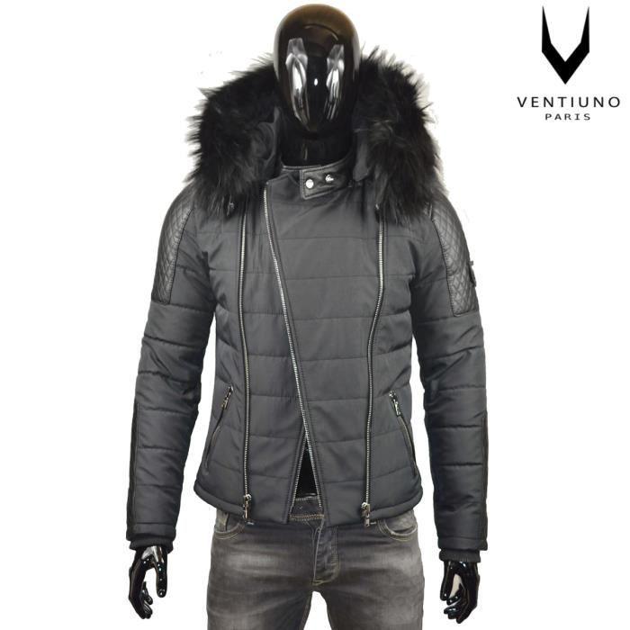Ventiuno Modena doudoune homme bi matière cuir d'agneau