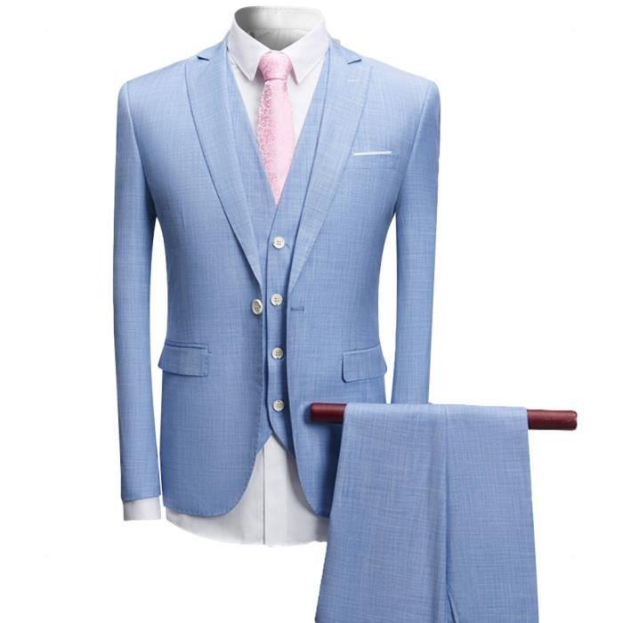 a025227226d4b5 Costume homme 3 pièces un bouton d'affaire mariage slim fit Business ...