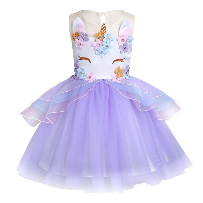 60944bd6544 Robe Princesse Bébé Enfant Fille Tulle Tutu Jupe Robe de soirée ceremonie  Sans manches robe d été