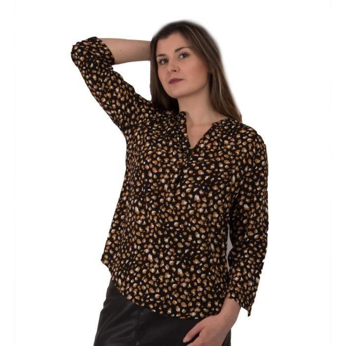 Chemisier femme motif léopard en coton noir effet tacheté moutarde-S ... 3a2653a9278