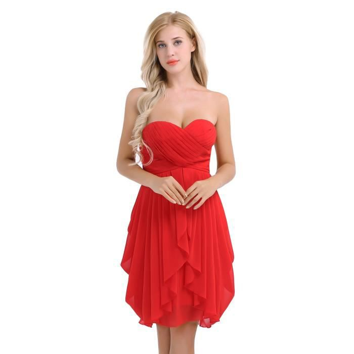 40816d2a621880 Robe demoiselle d honneur femme rouge - Achat / Vente pas cher