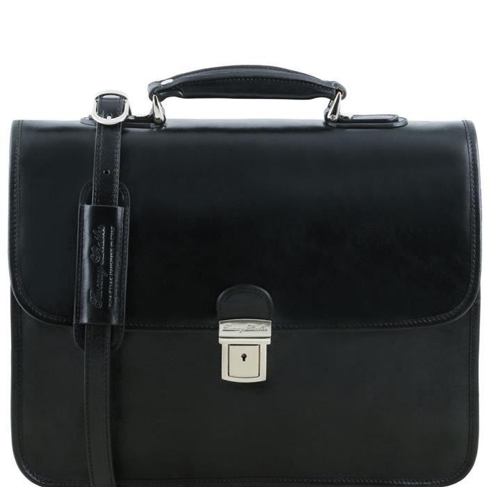 Tuscany Leather - Vernazza - Cartable en cuir porte ordinateur avec 3 compartiments - Noir
