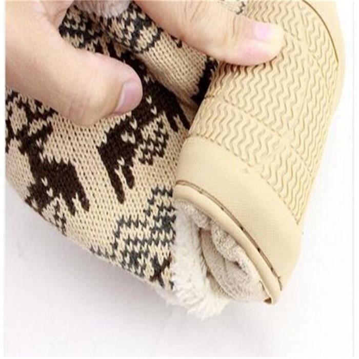 Bottines Femmes Deer Snow Boots hiver Coton-rembourré Chaussures LKG-XZ033Gris37