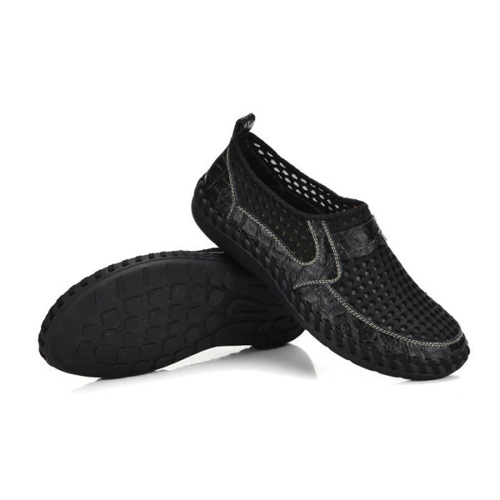 Chaussure Homme Printemps Été Comfortable Respirant Slip On Chaussures BYLG-XZ070Noir44 4Z3ju