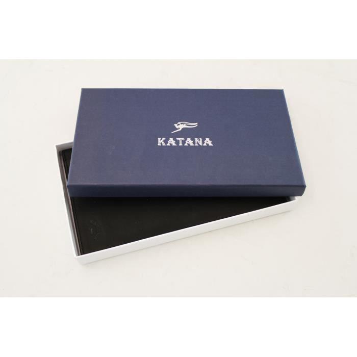Porte 653008 Femme Katana K chéquier Gras Vachette Noir Souple Cuir De 8q8Ur