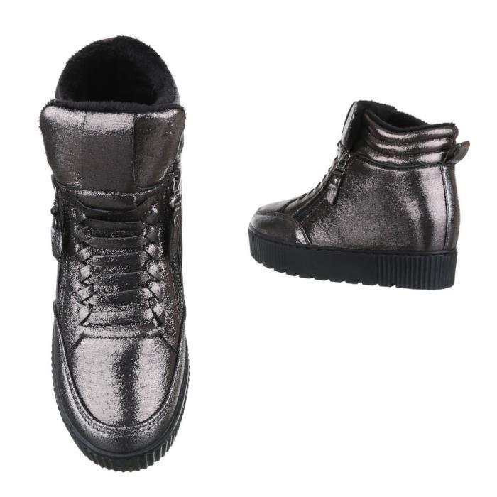 femme chaussures décontractées chaussure semelle compenséebotteette Wedges Sneaker gris argent T2JwuWLml