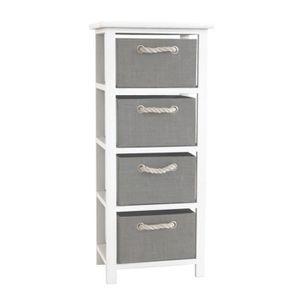 MODENA Petit meuble de rangement de salle de bain 34 cm - Laqué blanc brillant et gris