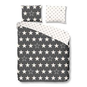GOOD MORNING  Parure de couette Stars - 1 housse de couette 200x200 cm + 2 taies 60x70 cm anthracite et blanc