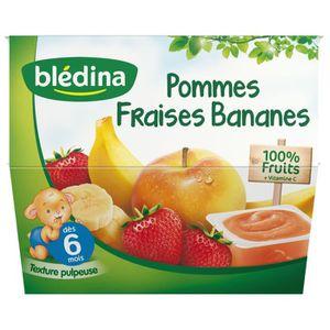DESSERT FRUITS BÉBÉ BLEDINA Purée de fruits Pommes, Fraises et Bananes
