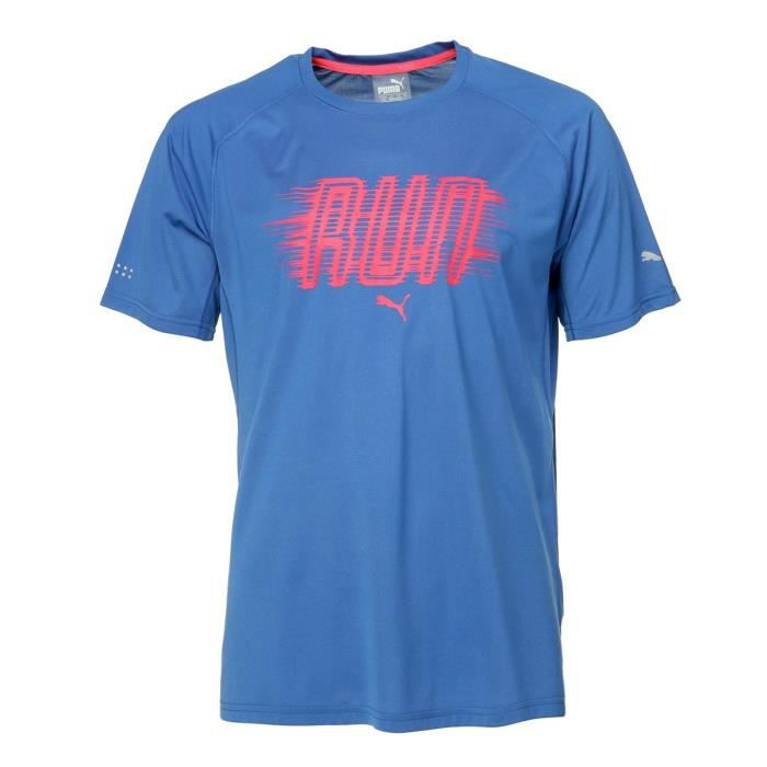 PUMA T-shirt Run True Manches Courtes - Homme - Bleu