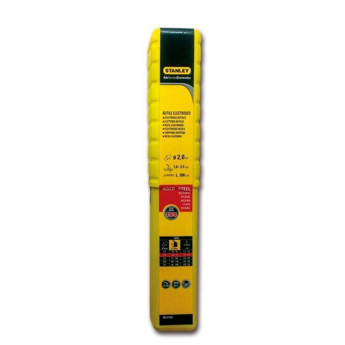 STANLEY 460920 Lot de 155 électrodes rutiles acier - Ø 2 mm - L 350 mm - Baguettes de soudure