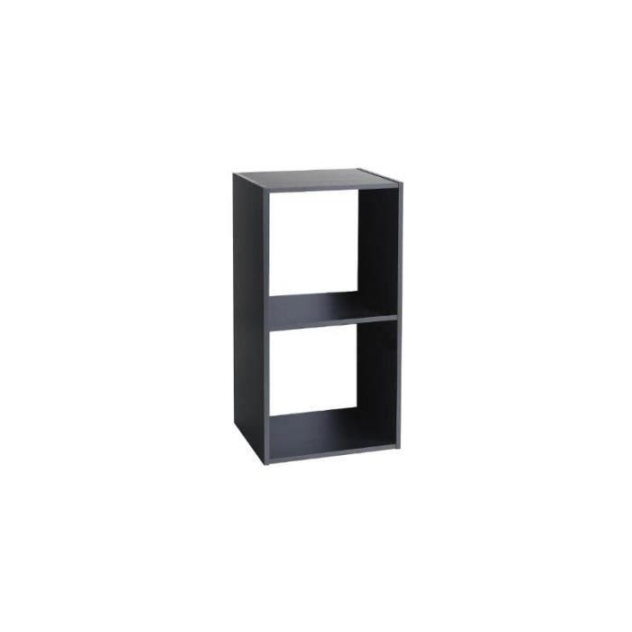 Etagère 2 cases - L 34,4 x P 32 x H 67,6 cm - Bois - Noir - Achat ...