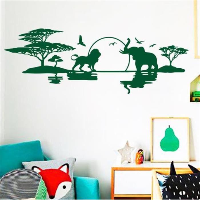 Sticker Décoration Murale Salon Chambre Forêt Vert Tropical De Savane Arbre  Éléphant Et Lion 58×160cm
