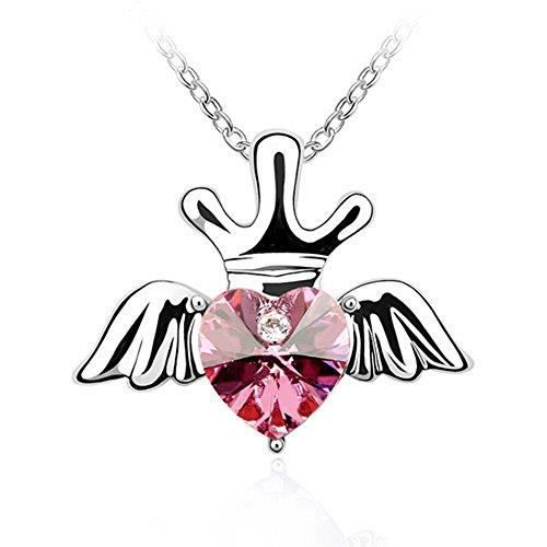 Womens Swarovski Crystals & Aaa Cubic Zircon Diamond Heart-love-valentine Pendant Necklace. Daily- D1Q3U