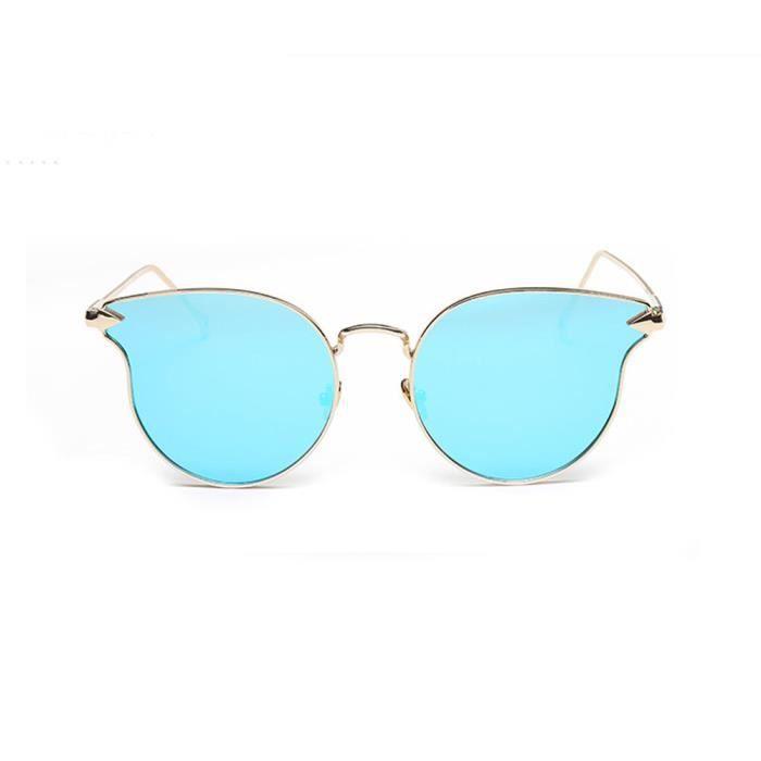 An-1090 Homme Femme Mode Vintage Métal Bordure chat miroir des lunettes de soleil bleu