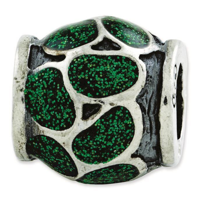Argent Sterling réflexionsémail vert avec Paillettes Charm perle