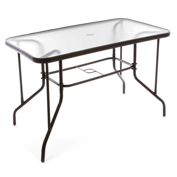 Table bistro Balcon plateau en verre trou parasol - Achat / Vente ...
