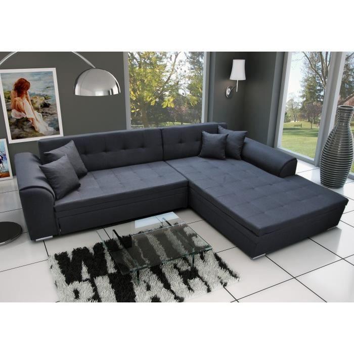 sorento noir - canapé d'angle droit convertible - achat / vente
