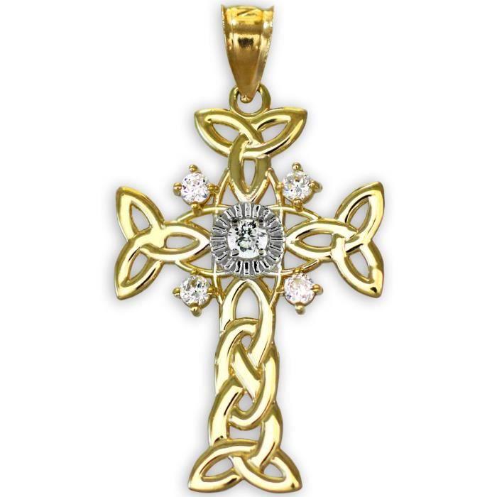 Collier Pendentif10 ct Celtique Collier Pendentifdiamant 471/1000 Deux tons Celtiquees Or en-Croix (vient avec une Chaîne de 45...