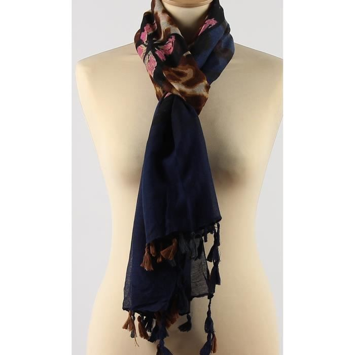 Foulard imprimé papillons et léopard Bleu marine rose et noir femme Viscose ecec9983d699