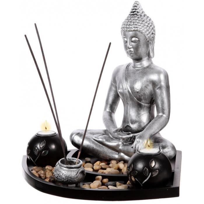 STATUE   STATUETTE Statuette Bouddha Zen Avec Plateau Et Décoratiou2026