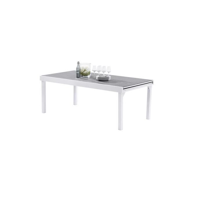 Table extensible 200/320 Stone/Blanc - MODULO - Achat ...