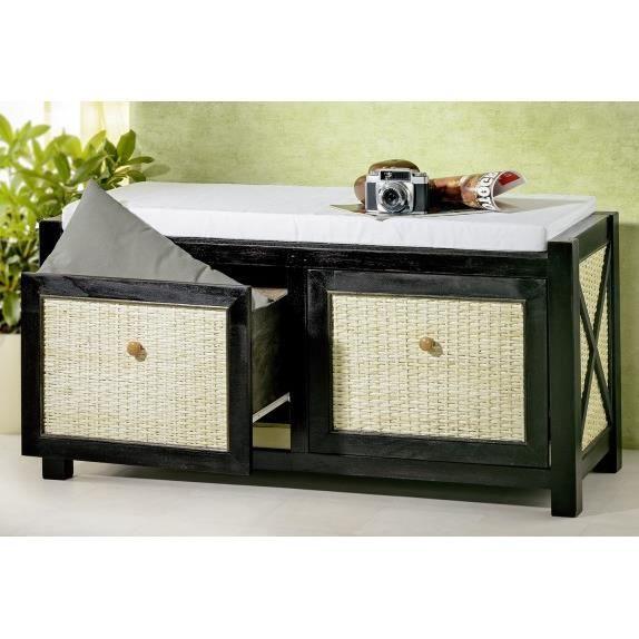 Banc rangement de salle de bain bois noir rotin achat for Salle de bain meuble rangement