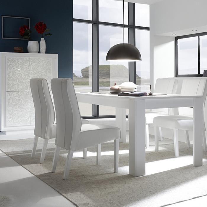 Table à manger blanc laqué mat design FANTINE L 180 cm Avec rallonge ...