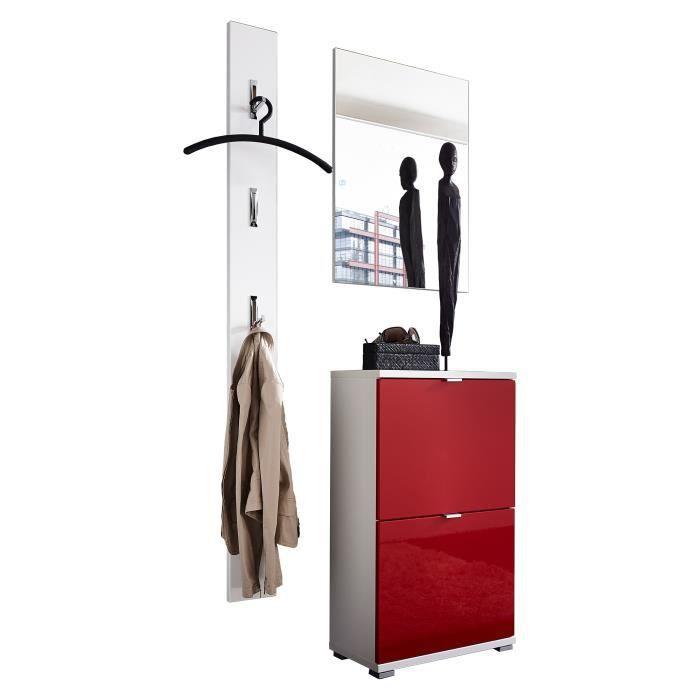 Ensemble Meuble à Chaussures Vestiaire Miroir Rouge Et Blanc