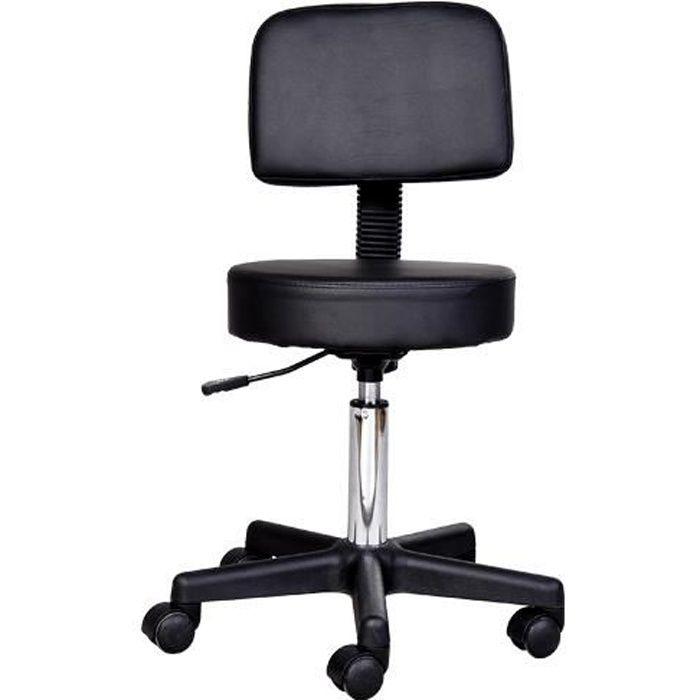 tabouret massage a roulettes reglable en hauteur pivotant avec dossier ergonomique noir 13. Black Bedroom Furniture Sets. Home Design Ideas