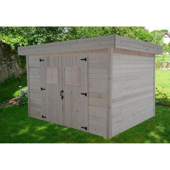 Abri de jardin 9,66m² en bois massif à toit plat en tôle bac acier ...