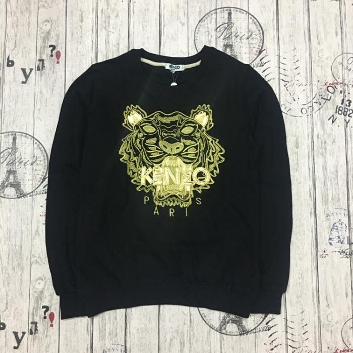 8a77d641ca6 Sweat-shirt Pull Oversize Femme Homme en 100% Coton à Motif Kenzo Tigre  Manche Longue Col Rond Style Noir Or