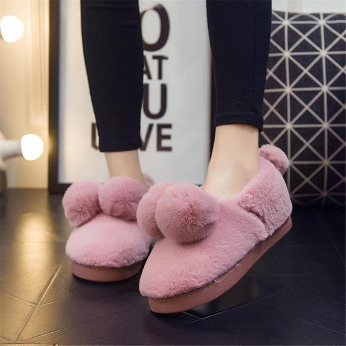 Mouton Chaussons Femme Hiver Garde Au Chaud Chausson Doux Plus De Coton Chaussure Beau Confortable Taille 36-41 OZAGZ