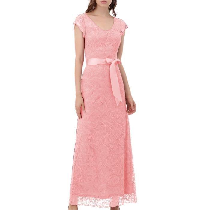 Femmes Robe en dentelle florale Rétro Vintage longue robe de demoiselle dhonneur avec mancherons 2G7K04 Taille-42