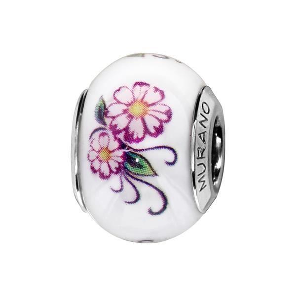 Thabora - Charms - C05229 -Argent Rhodié - Verre de murano blanc - Motif fleur