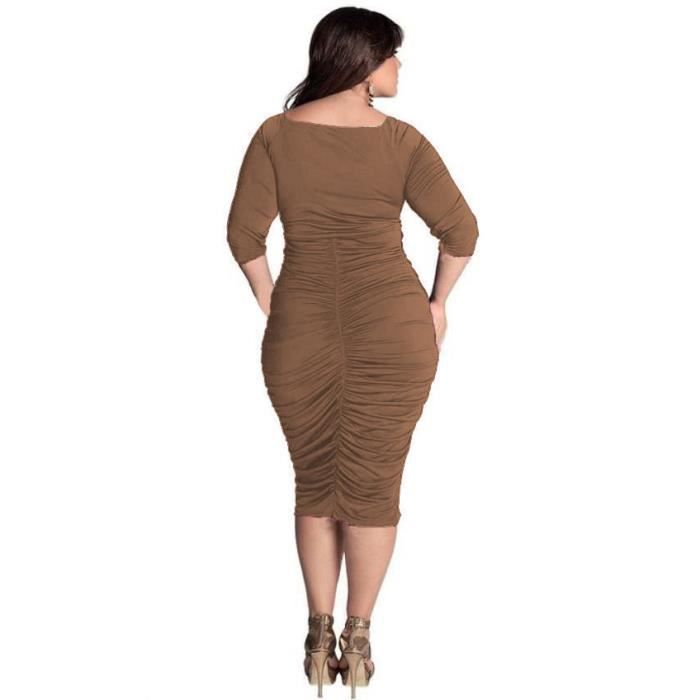 Sexy V profond Hip package Robe Plus Size femme...