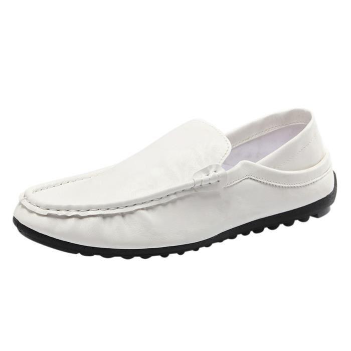 Flat souple les Conduite sur Hommes cuir chaussures ASD673 Casual respirant Trim blanc Slip en qXWRUwfd
