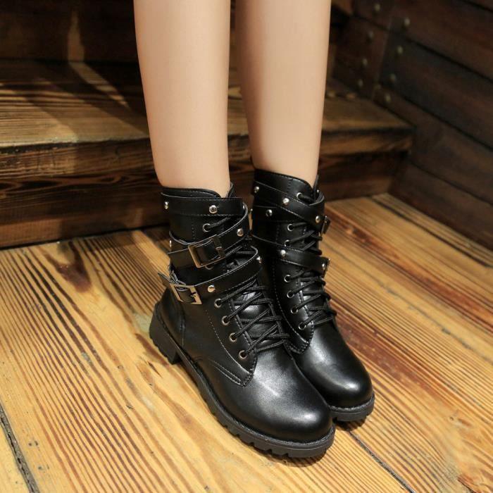 aef8cf7b3ae7a2 En Douces Bottines Spentoper Femmes Cuir À Lacets Plates Martin Chaussures  Suède noir Femme Bottes gppxwa
